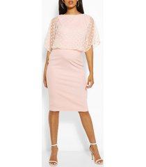 maternity dobby mesh overlay midi dress, blush