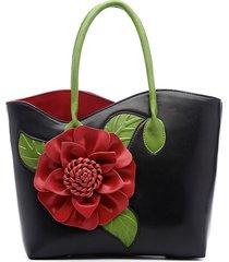 brenice fonna borsa a mano in pelle pu di stile tradizionale decorata con fiore borsa a spalla