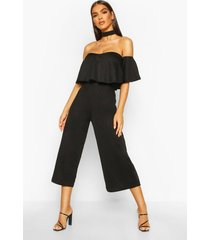 off shoulder ruffle culotte choker jumpsuit, black