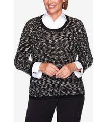women's missy knightsbridge station sparkly eyelash two-for-one sweater