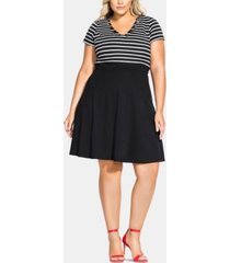 city chic trendy plus size sailor stripe a-line dress