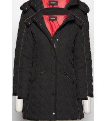 padded leicester doorgestikte jas zwart desigual