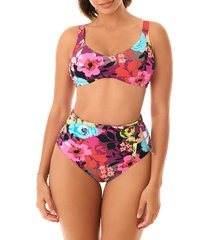skinny dippers women's good vibes bikini top - pink black multicolor - size m