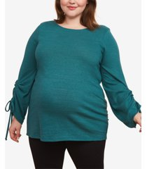 motherhood maternity plus size ruched-sleeve top