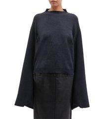 button split kimono sleeve mock neck sweater