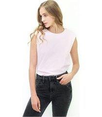camiseta para dama manga corta, cuello redondo, fluida color-rosa-mag-talla-s