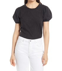 everleigh eyelet sleeve t-shirt, size xx-large in black at nordstrom