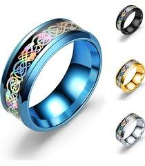 unisex 8mm anello alla moda in acciaio inossidabile con disegno di dragone in multicolori anello a coppia per lui lei