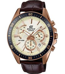 reloj casio efr_552gl_7a marrón cuero