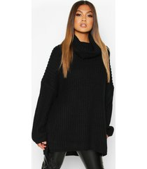 chunky oversized boyfriend sweater, black