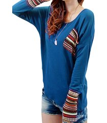camicetta a maniche lunghe con cuciture a collo alto stampate etniche