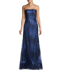rene ruiz collection women's strapless beaded metallic a-line gown - rose gold - size 10