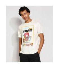 camiseta masculina manga curta aristogatas gola careca off white