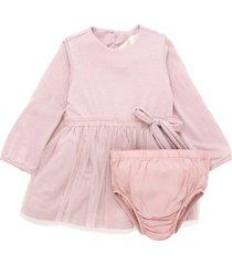 vestido manga larga rosado  offcorss