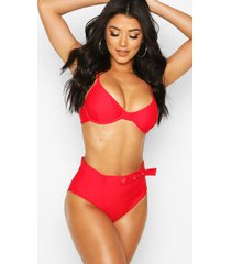 underwired high waist belted bikini, red