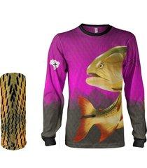 camisa + máscara pesca quisty dourado o rei do rio rosa proteção uv dryfit infantil/adulto - camiseta de pesca quisty