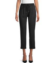 true religion women's drawstring cropped pants - black - size m
