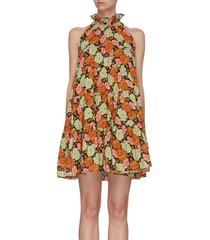 'billy' floral print ruffle halter neck dress