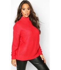 funnel neck longline sweater, scarlet