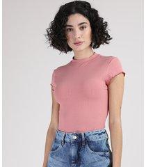 blusa feminina canelada com frufru manga curta gola alta rosa