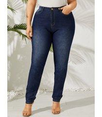 talla grande classic detalles de borlas de cinco bolsillos jeans