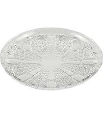 conjunto de 6 pratos de cristal wolff para sobremesa princess 20cm