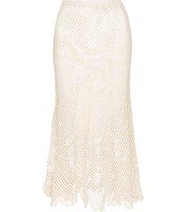 peony crochet open-knit midi skirt - white
