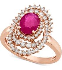 certified ruby (1-1/3 ct. t.w.) & diamond (3/4 ct. t.w.) ring in 14k rose gold
