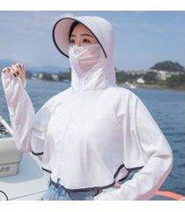 señoras transpirable impermeable sombrero para el sol blanco