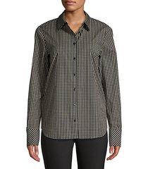scottie grid-print blouse