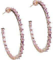 cz by kenneth jay lane women's look of real rose goldplated & crystal hoop earrings