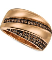 le vian chocolatier chocolate diamond statement ring (1/4 ct. t.w.) in 14k rose gold