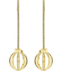small diamond pave cage drop earrings