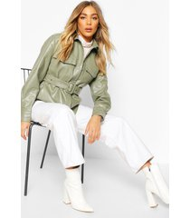 belted faux leather jacket, sage
