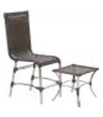 jogo cadeira 1un e mesa de centro sevilha para edicula jardim area varanda descanso - pedra ferro