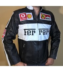 black and white color ferrari motorbike biker leather jacket with safety gear