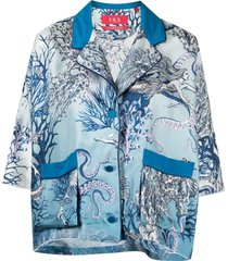 f.r.s for restless sleepers marine-print short-sleeve shirt - blue