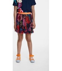 flared floral skirt double layer - blue - 13/14