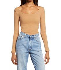 women's allsaints jamie long sleeve ribbed bodysuit, size 00 us - beige