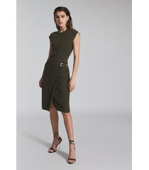 reiss thea - knitted bodycon dress in green, womens, size xl