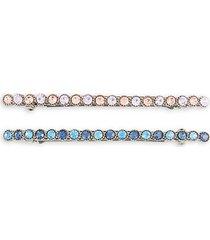 2-piece silvertone & crystal hair clip set