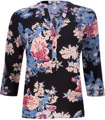blusa estampada flores color negro, talla s