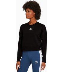 classics cropped damessweater, zwart, maat s | puma