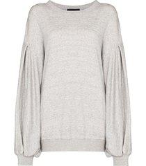 made in tomboy kyla pleated sleeves sweatshirt - grey