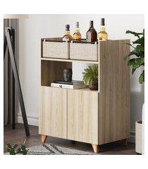 aparador bar multiuso be mobiliário drink 2 portas 2 cestos