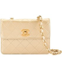 chanel pre-owned single chain mini shoulder bag - gold
