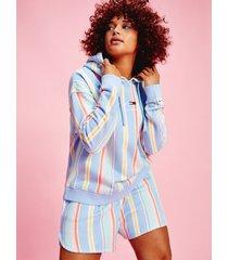 tommy hilfiger women's curve organic cotton stripe hoodie light powdery blue / stripe - 2xl