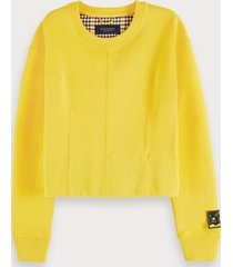 scotch & soda cotton blend long sleeve darted sweatshirt