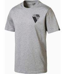graphic brand t-shirt voor heren, grijs/heide, maat xs   puma