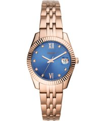 fossil women's scarlette mini rose gold-tone stainless steel bracelet watch 32mm